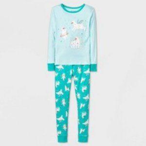 Cat & Jack Girls Llama Tight Fit PJ Set Sea Green